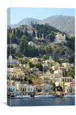 Yachts in Yialos, Canvas Print