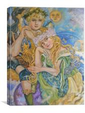 An angel and a goddess of the moon., Canvas Print