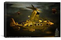 The Golden Steam Powered  Flying Gunship, Canvas Print