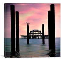 West Pier Silhouette, Canvas Print