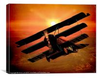 The Bloody Red Baron's Fokker at Sunset, Canvas Print