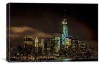 Downtown Manhattan At Night, Canvas Print