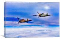 Messerschmitt Bf 109s Patrol The Clouds, Canvas Print