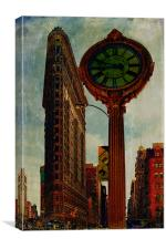 Flatiron Building and Fifth Avenue Clock, Canvas Print