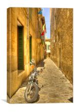 Motorcycle in Mallorca Street, Canvas Print