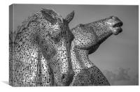 Kelpies - Black and White, Canvas Print