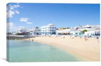 Beach At Corralejo Harbour, Canvas Print