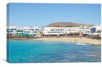 Playa Blanca, Beach and shops, Canvas Print