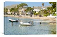 Moored at the Pine Walk in Puerto Pollensa, Canvas Print