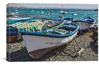 Boats at Playa Blanca Harbour, Canvas Print
