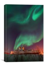 steamboat under northern lights, Canvas Print