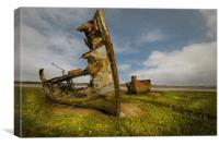 Old wrecks of the river Wyre, Canvas Print