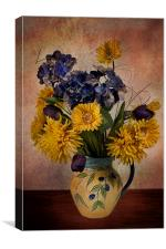 Sun flowers and vase, Canvas Print