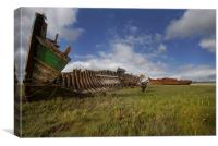 Old boat wrecks, Canvas Print
