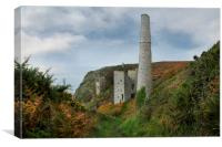 Tin mines at Rinsey head cornwall, Canvas Print