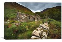 Old Welsh cottage Snowdon , Canvas Print