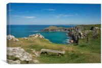 Pentire point and the rumps on the north Cormwall , Canvas Print