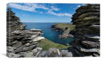 Barras nose and Tintagel Haven Cornwall, Canvas Print