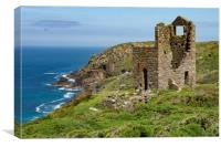 Mine engine houses at Botallack at St Just Cornwal, Canvas Print