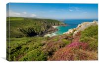 Pendour cove from the headland of Zennor cliffs Co, Canvas Print