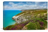 Walkers on the St Agnes heritage coast Cornwall, Canvas Print