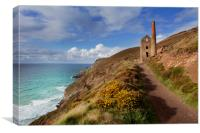 Wheal Coates mining engine house  St Agnes Cornwal, Canvas Print