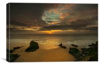 Sunset at Bedruthan steps Cornwall , Canvas Print