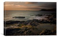 Golden hour at Booby's bay Cornwall, Canvas Print