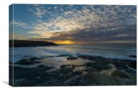 Sunset at Treyarnon point Cornwall, Canvas Print