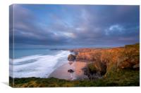 Bedruthan steps Cornwall., Canvas Print