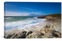 Little Fistral beach Cornwall, Canvas Print