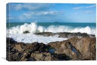 High seas at St Cadocs point, Canvas Print