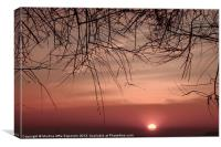 Sunset on the mediterranean coast, Canvas Print