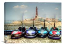Dodgems in the Shadow of Blackpool Tower, Canvas Print