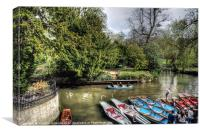 Punts on the river Cherwell, Canvas Print