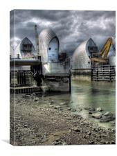 Open Barrier 9 - Thames Barrier in Greenwich, Canvas Print