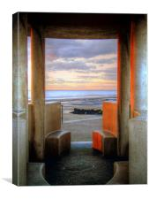Granite Benches - Cleveleys Prom, Canvas Print