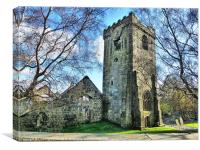 Heptonstall Church Ruins., Canvas Print