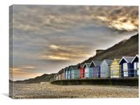 Sunset over the Beach Huts, Canvas Print