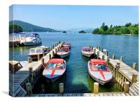 Motorboats at Lake Windermere., Canvas Print