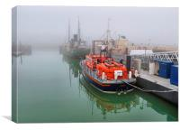 Lowestoft Lifeboat in the Fog., Canvas Print