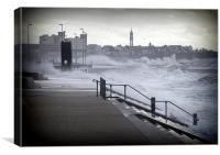 Rough sea at Cleveleys, Canvas Print