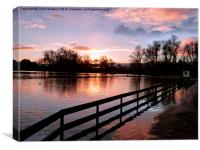 Sunset on the Boating Lake., Canvas Print