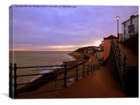 Sunset on Cromer Promenade., Canvas Print