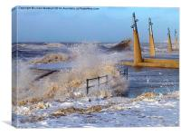 Rough Seas at Cleveleys., Canvas Print