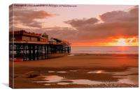 Sunset on South Pier., Canvas Print