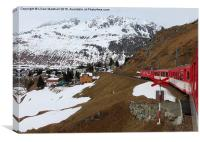 Train down from the Oberalp Pass., Canvas Print