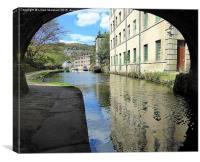 Hebdon through the Bridge., Canvas Print