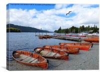Boats at Bowness. , Canvas Print