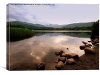 Elterwater and the Langdales., Canvas Print